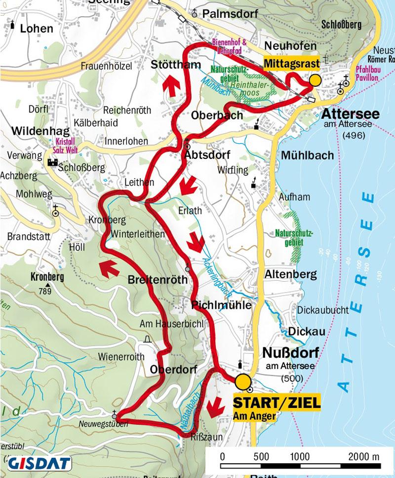 Karte und Höhenprofil der Wanderung in Nussdorf am Attersee