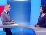 SPÖ OÖ-Chefin Birgit Gerstorfer (re) mit OÖ heute-Moderator Klaus Obereder (li)