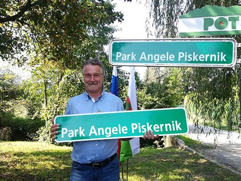 Angela Piskernik park LJ Stergar Smrtnik tabla poimenovanje ljubljana