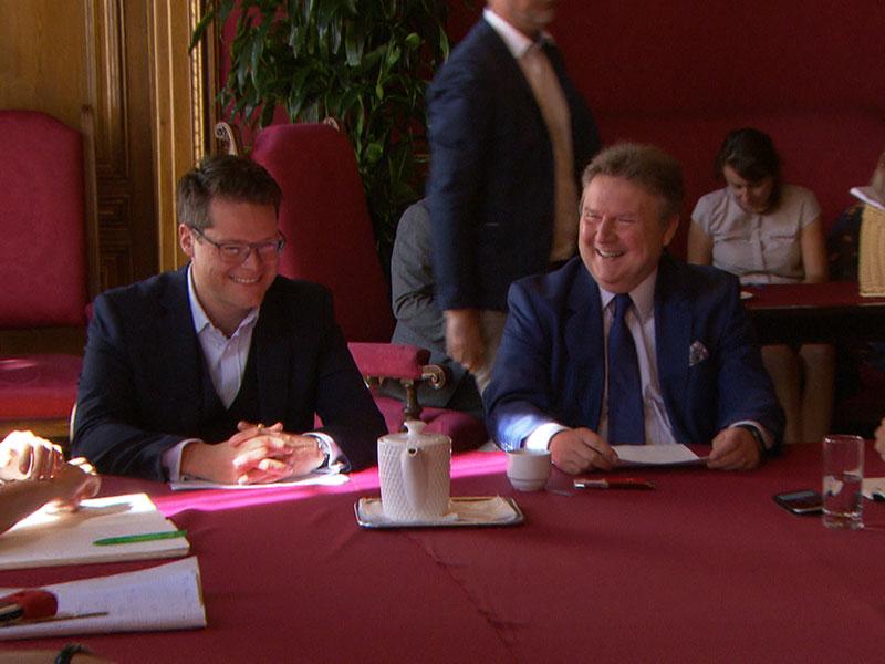 Bürgermeister Michael Ludwig und Bildungsstadtrat Jürgen Czernohorszky (beide SPÖ) am Donnerstag bei der Präsentation ihres Maßnahmenpaketes zu Islam und Schule