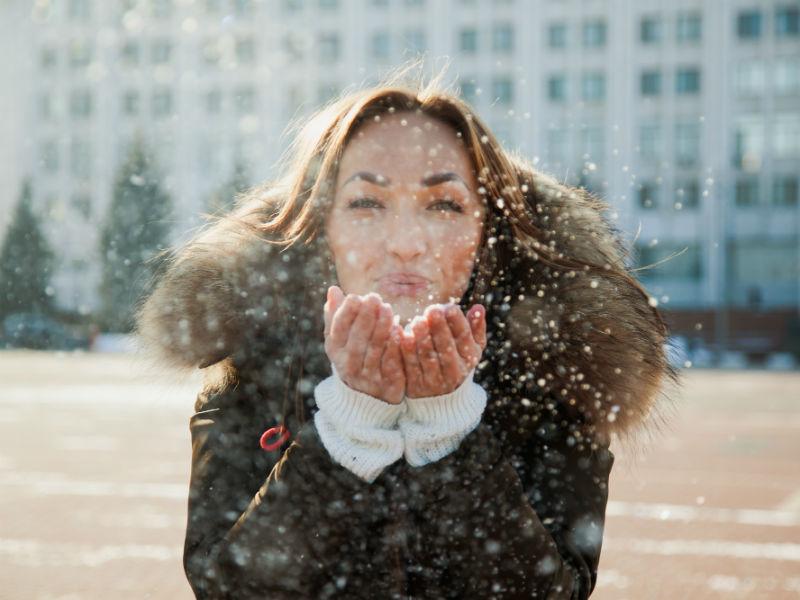 Frau Winter Frisch Kalt Kälte