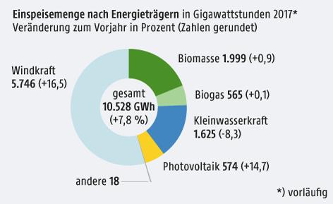 eingespeiste Mengen nach Energieträgern 2017 - Tortengrafik
