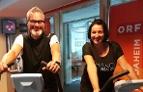 Thomas May und Veronika Unger auf den Hometrainern