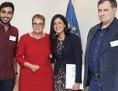 Liliane Maury Pasquier, Präsidentin der Parlamentarischen Versammlung des Europarates (Mitte) mit den Nominierten, Nabeel Rajab (Bahrain), Rosa María Payá (Kuba) & Vertretung von Ojub Titijew (Russland)