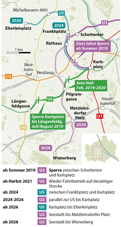 Grafik: Umbau im Wiener U-Bahn-Netz - Wienplan mit U-Bahnen U2 und U5, Ausbaustufen mit Terminen