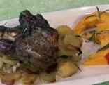Lammschulter geschmort, Kartoffeln, Kürbis