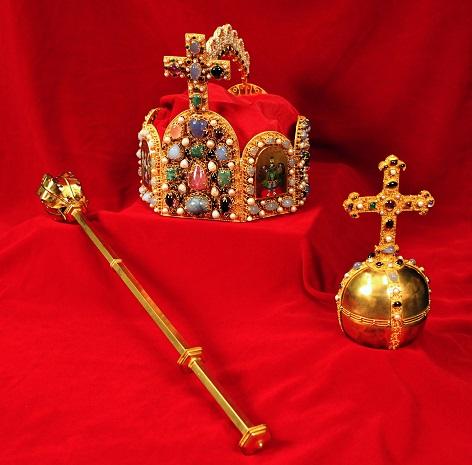 opien der Krönungsinsignien des Heiligen Römischen Reichs: Krone, Szepter, Reichsapfel, 1985-1990