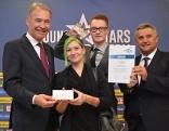 WK-Präsident Peter Nemeth, Sarah Wohlmuth, Marco Lienhart mit Spartenobmann KommR Anton Dallos