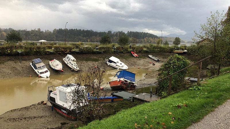 Boote am Völkermarkter Stausee