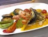Filetti di branzino mit Garnelen und Shrimps