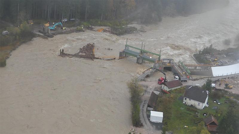 Gailtal Brücke Tressdorf zerstört Hochwasser Unwetter