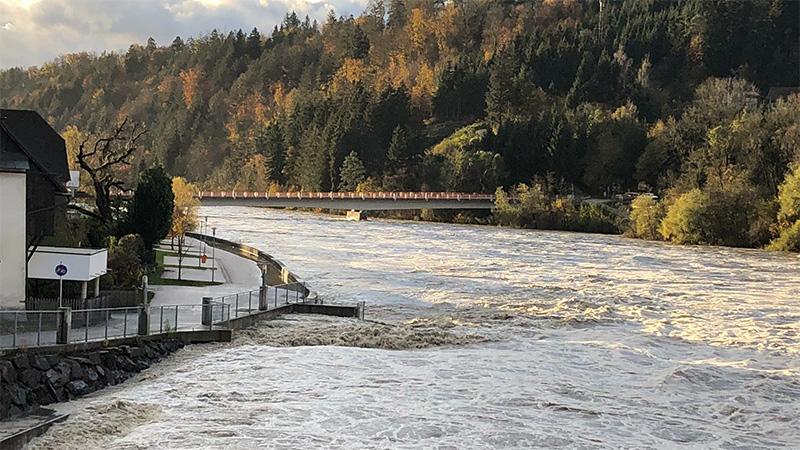 Lavamünd Hochwasser Drau Sonne Unwetter