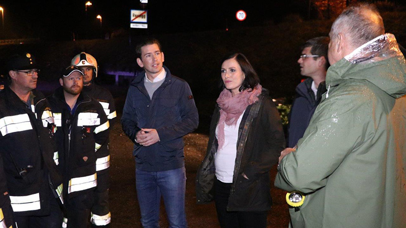 Sebastian Kurz Köstinger Besuch Unwetter Hochwasser Rosegg