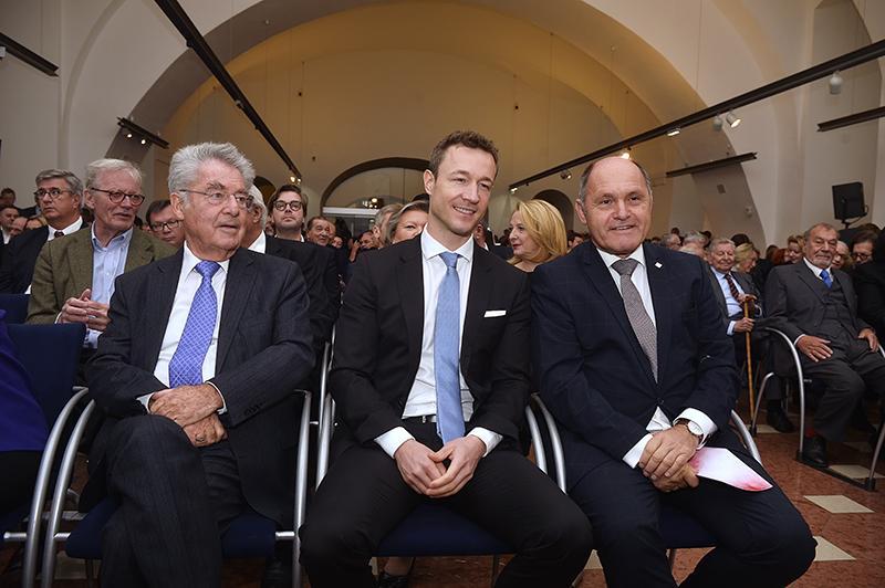 Ex-Bundespräsident Heinz Fischer, Kulturminister Gernot Blümel und Nationalratspräsident Wolfgang Sobotka