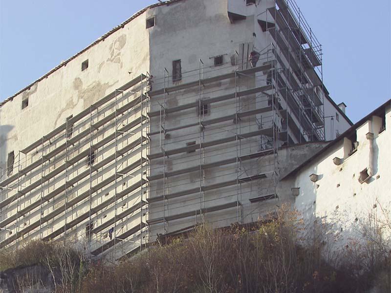 Arbeiten an der Festung Hohensalzburg nach Sturm