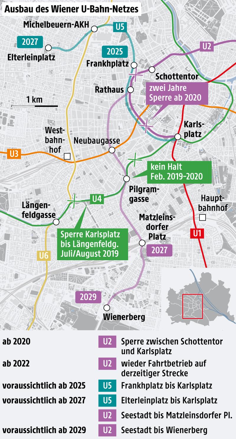 Karte zeigt Ausbau des Wiener U-Bahnnetzes