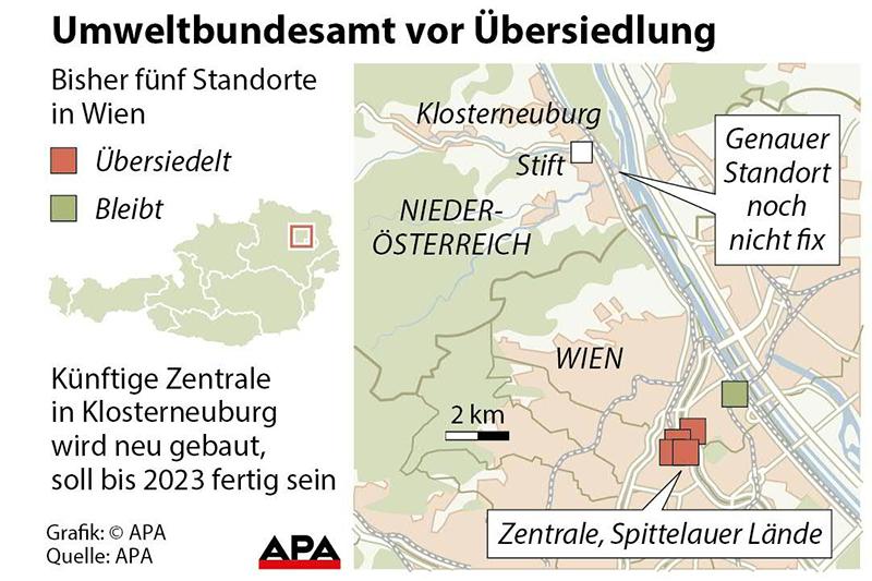 Grafik Umweltbundesamt Übersiedlung Klosterneuburg