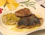 Karpfenfilet gebraten mit Gewürzbutter und knuspriger Grammel Polenta
