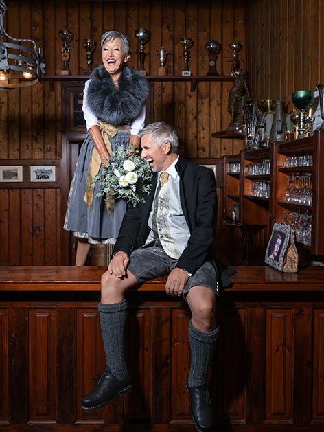 Hochzeitsmode Eiserne Goldene Ulrike Seebacher Models Cilly Höferer   Gerald Andrej