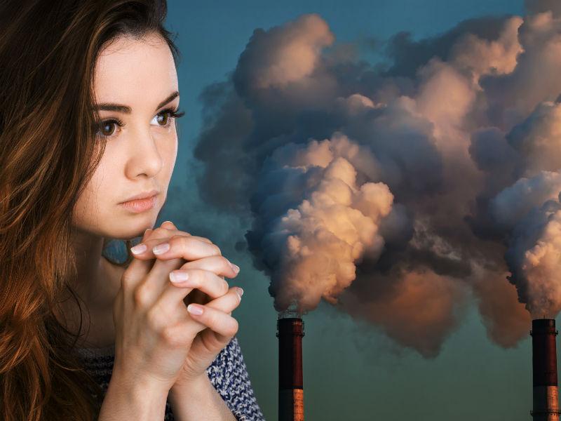 Frau Umweltverschmutzung