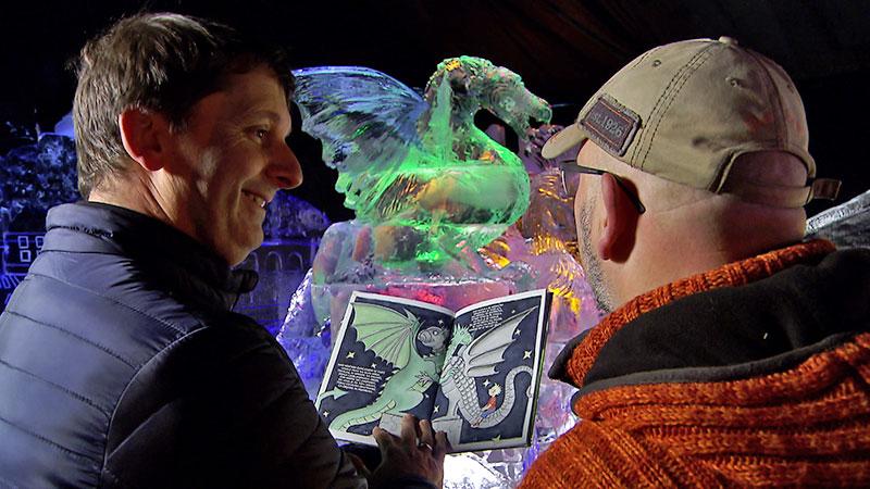 Drachen aus Eis und Ausstellung über Drachen in Ljubljana