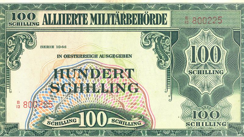 100 Schilling während der Besatzungszeit Tea Time Wolfsberg