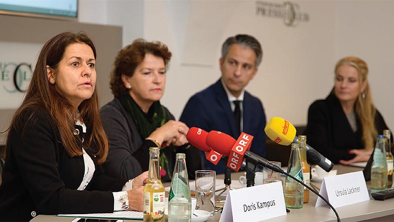 PK Extremismuspräventionsstelle: Landesrätin Doris Kampus, Landesrätin Ursula Lackner, Stadtrat Kurt Hohensinner, Daniela Grabovac.