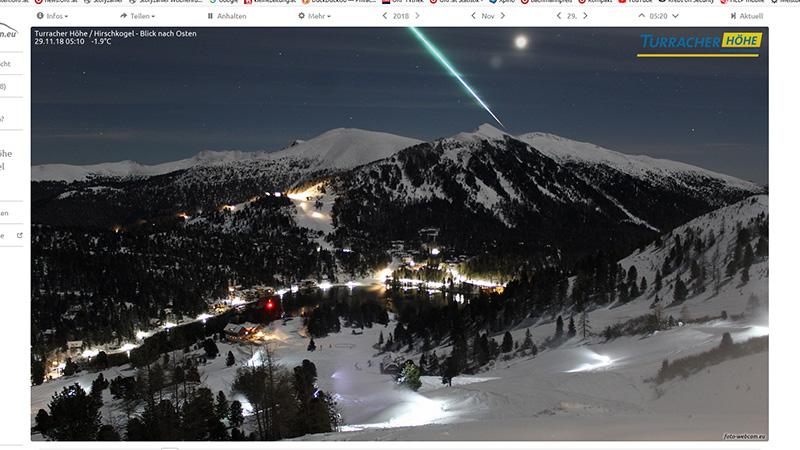 Mega Sternschnuppe Turrach Bad Kleinkirchheim Webcam