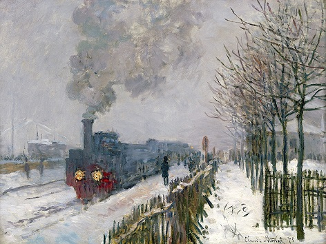 Train Engine in The Snow, 1875