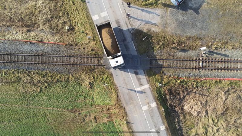 Eisenbahnkreuzung St Paul Lavanttal Drohne