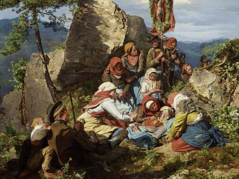 """Ferdinand Georg Waldmüller, Unterbrochene Wallfahrt (""""Die kranke Pilgerin""""), 1858"""