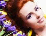 Frau Frühling Blumen Tulpen