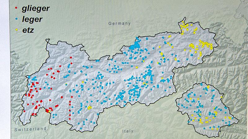 Tirolkarte mit digitalen Markierungen