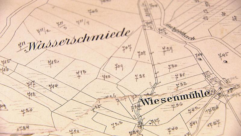 Ausschnitt einer alten Karte mit Flurnamen