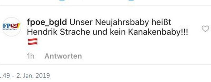 Hass Kommentar auf Instagram Neujahrsbaby