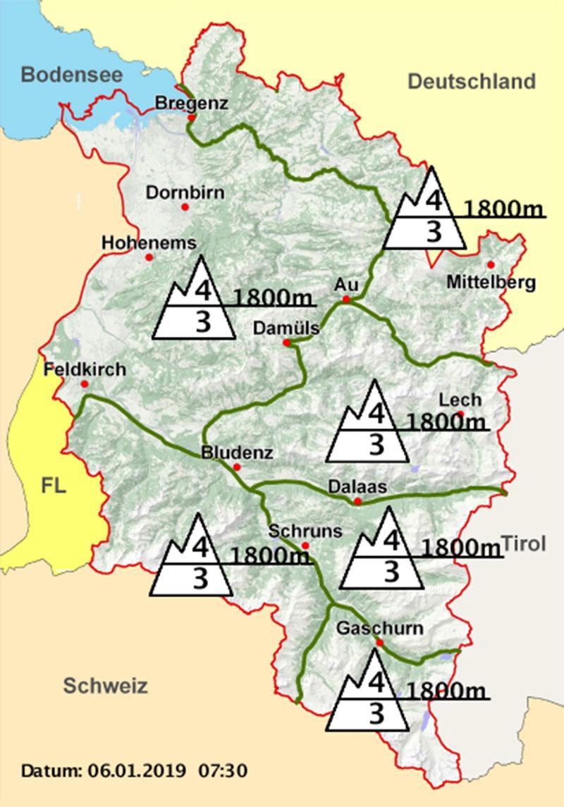 Karte Lawinengefahr