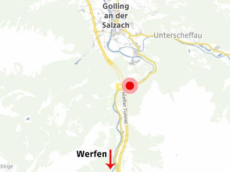 Karte von Golling mit möglicher Lawinenstelle