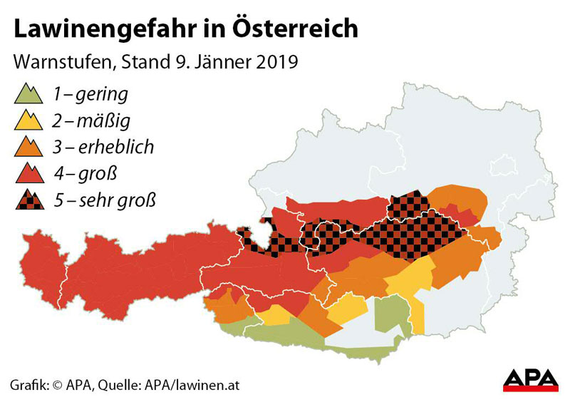 Österreichkarte mit Lawinengefahr
