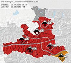Karte zu Lawinenwarnstufen in Salzburg am 9.1.2019