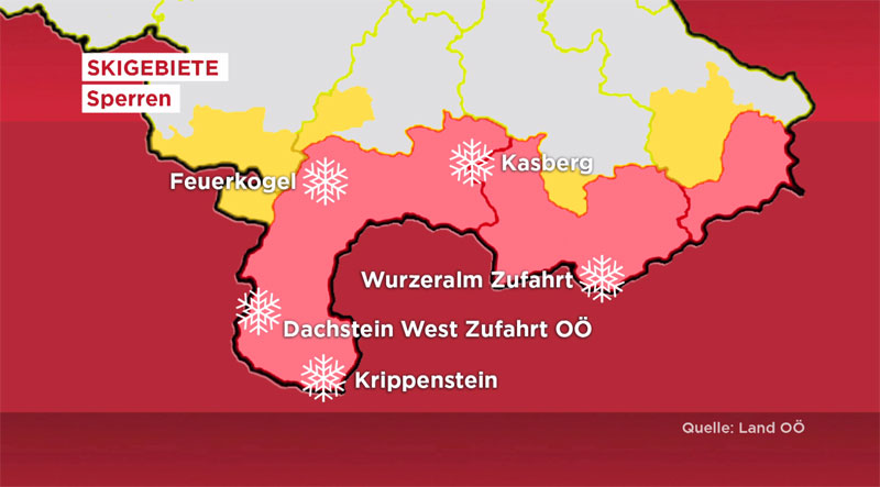gesperrte Ski-Gebiete