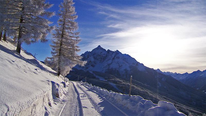 Blick auf die Serles im Winter