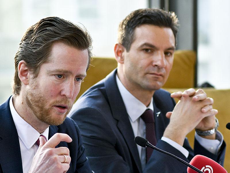 AUA-CEO Alexis von Hoensbroech (L) und AUA-CFO Wolfgang Jani am Donnerstag, 17. Jänner 2019, im Rahmen der Austrian Airlines AG (AUA)-Pressekonferenz