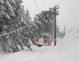 Sperre Mariazellerbahn Schnee Bäume