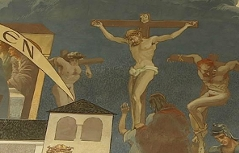 Fresko mit Kreuzigungsszene