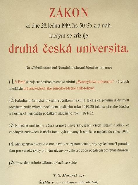 zakládající dekret Masarykovy univerzity