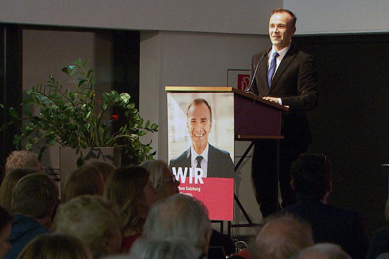 Spitzenkandidat Bernhard Auinger beim Auftakt zum SPÖ Gemeinderatswahlkampf in der Stadt Salzburg