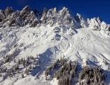 Die tief verschneiten Mandlwände im Hochkönig Massiv vom Troiboden aus gesehen