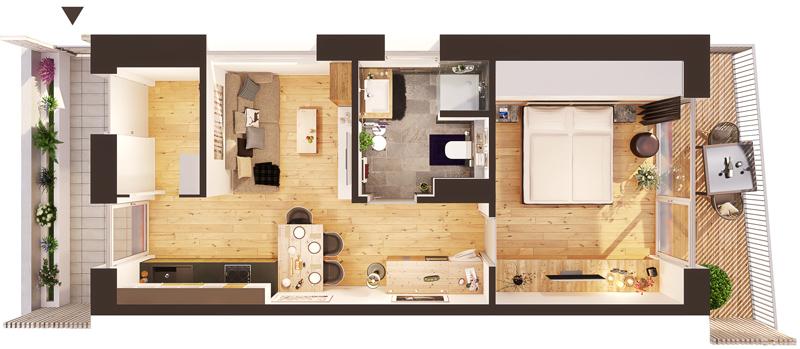 Dreidimensionaler Grundriss einer Wohnung