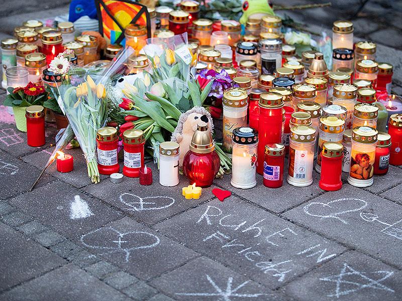 Kerzen an Unfallstelle in Wien-Landstraße