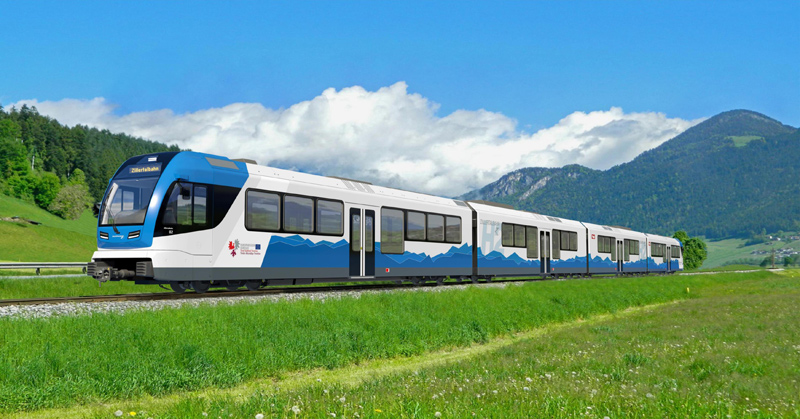 Visualisierung eines zukünftigen Zuges der Zillertalbahn